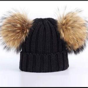 Black Real Fur Double Pom Hat